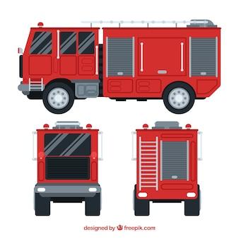 Diferentes vistas do motor de bombeiros
