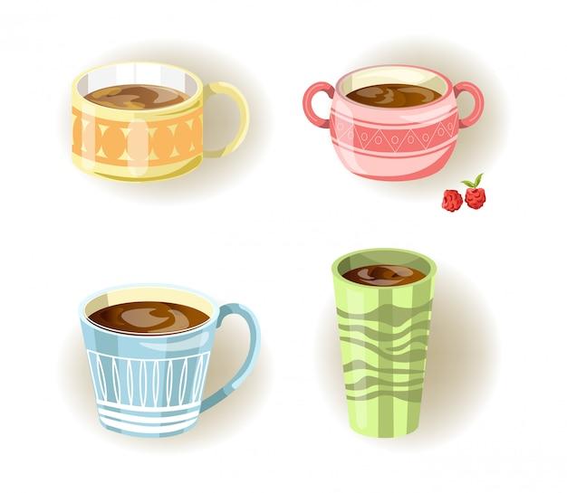 Diferentes xícaras de café, chá ou sopa e canecas