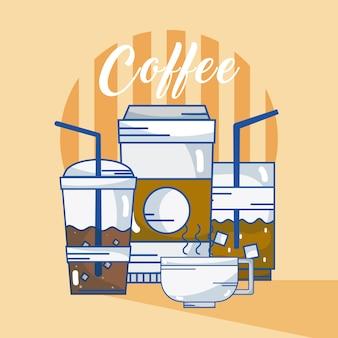 Diferentes xícaras de café vector design gráfico ilustração