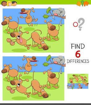 Differencesgame para crianças com cães felizes