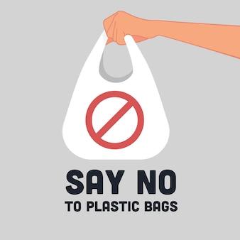 Diga não ao logotipo de sinal de sacos de plástico