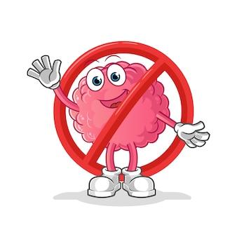 Diga não ao mascote do cérebro. desenho animado