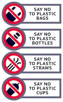 Diga não ao plástico: conjunto de adesivos