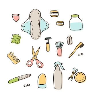 Diga não ao sinal de plástico com saco de plástico e cite desenho vetorial de doodle