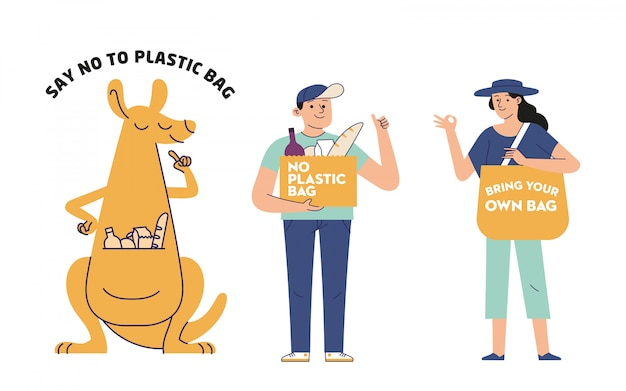 Diga não aos sacos de plástico, poluição e problemas ambientais
