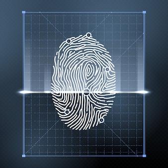 Digitalização biométrica de impressão digital para verificação pessoal.