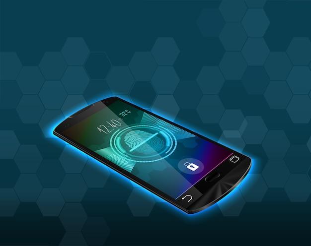 Digitalização de bloqueio de impressão digital no smartphone