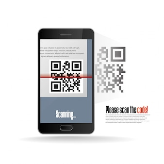 Digitalização de código qr com telefone celular realista