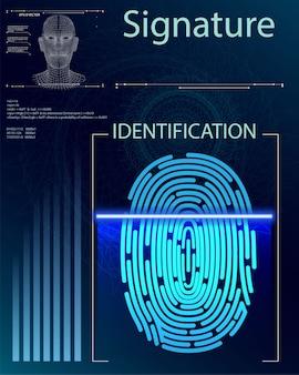 Digitalização de dedo em estilo futurista