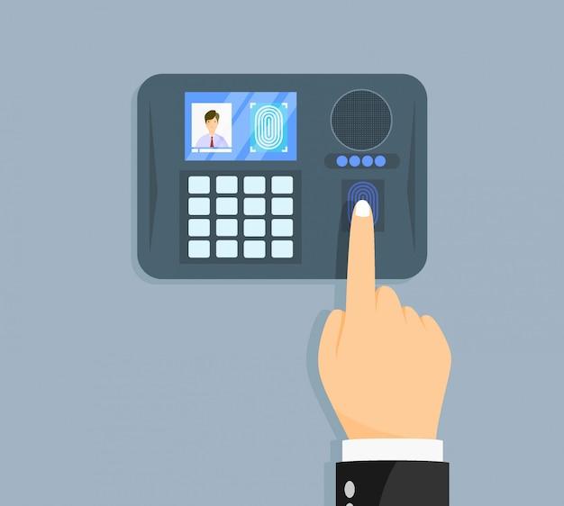 Digitalização de impressão digital. autorização em sistema de segurança.