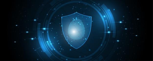 Digitalização de impressão digital do conceito digital de segurança cibernética fundo de tecnologia abstrato protege a inovação do sistema