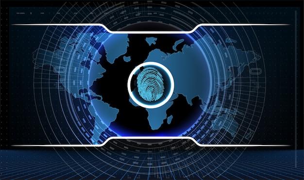 Digitalização de impressão digital logo privacidade cibersegurança