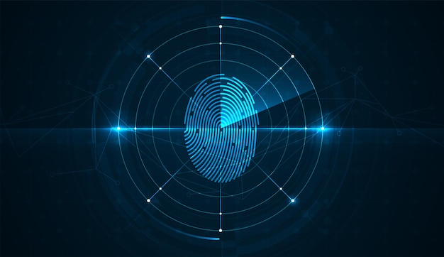 Digitalização de impressão digital no conceito de sistema de segurança abstrato da placa de circuito com impressão digital cibernética