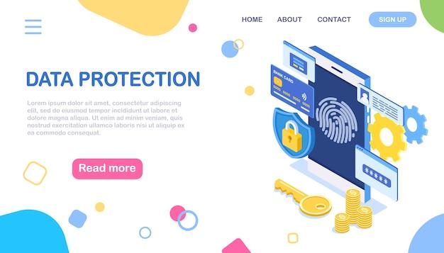 Digitalização de impressão digital para telefone celular. proteção de dados