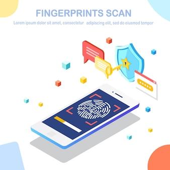 Digitalização de impressão digital para telefone celular.