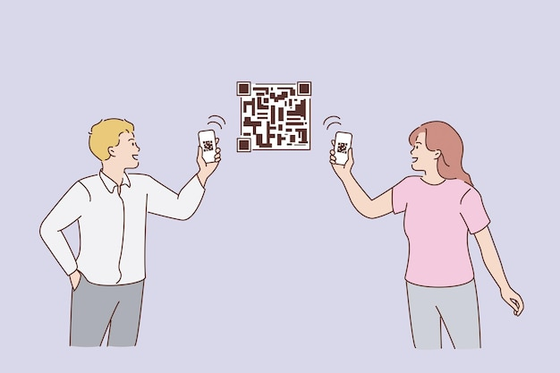 Digitalizando códigos qr com conceito de telefone