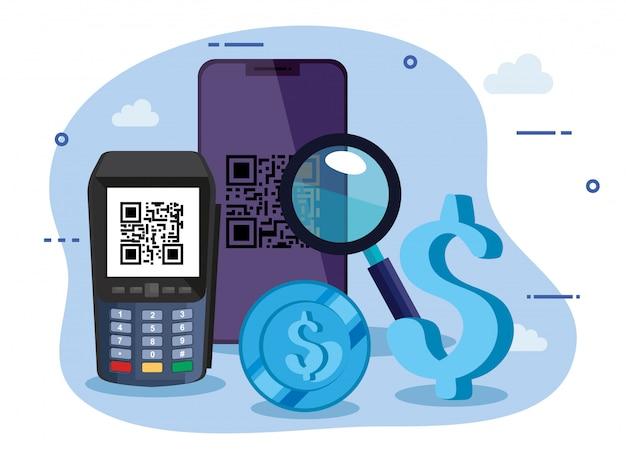 Digitalizar código qr com ilustração smartphone e dataphone