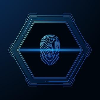 Digitalizar impressão digital segurança cibernética e controle de senha por meio de acesso a impressões digitais com identificação biométrica