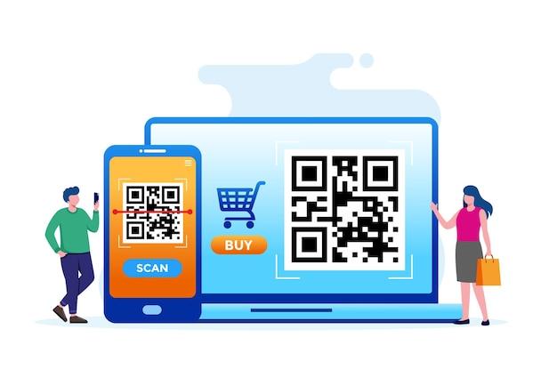 Digitalize a ilustração em vetor plano da tecnologia de código de barras para banner e página de destino