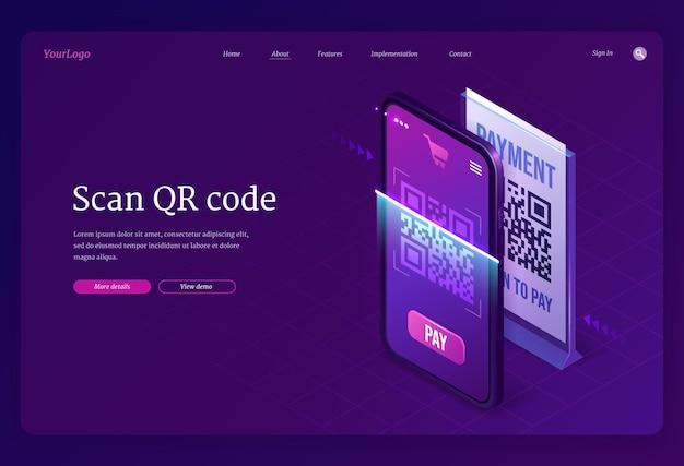 Digitalize a página de destino isométrica do serviço de verificação de código qr