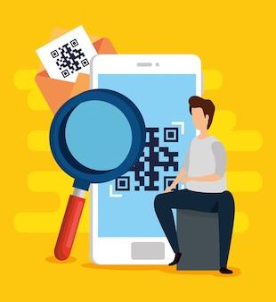 Digitalize o código qr no smartphone com homem