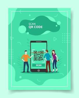 Digitalize o código qr pessoas em frente a um smartphone gigante em busca de um modelo de folheto