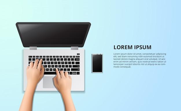 Digitando laptop na mesa de madeira com ilustração de smart phone e café
