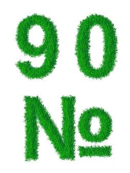 Dígitos do alfabeto da grama verde 9 0