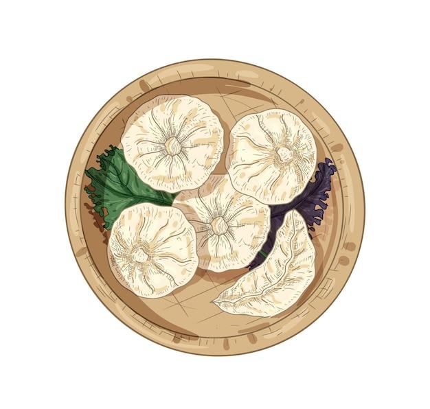 Dim sum mão desenhada ilustração vetorial. vista superior dos bolinhos da malásia. comida asiática com folhas de manjericão na placa de bambu, isolada no fundo branco. desenho realista da cozinha tradicional da malásia.