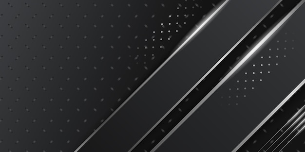 Dimensão 3d fundo abstrato preto com decoração de luz prateada branca