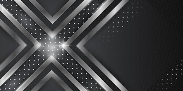 Dimensão 3d fundo abstrato preto com decoração de luz prateada