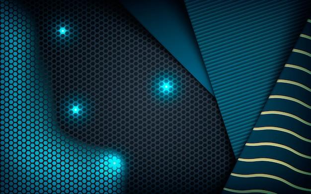 Dimensão abstrata azul texturizada no hexágono escuro