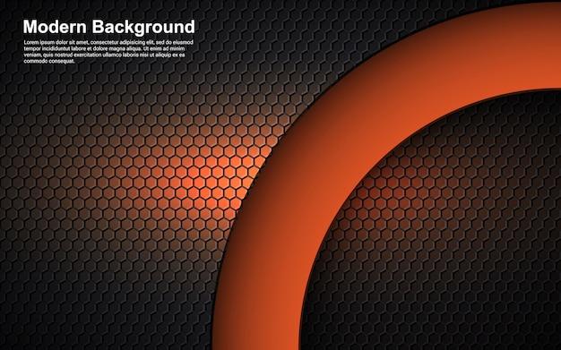 Dimensão abstrato laranja no design moderno preto