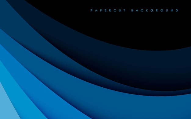 Dimensão de gradiente de fundo com corte de papel azul moderno