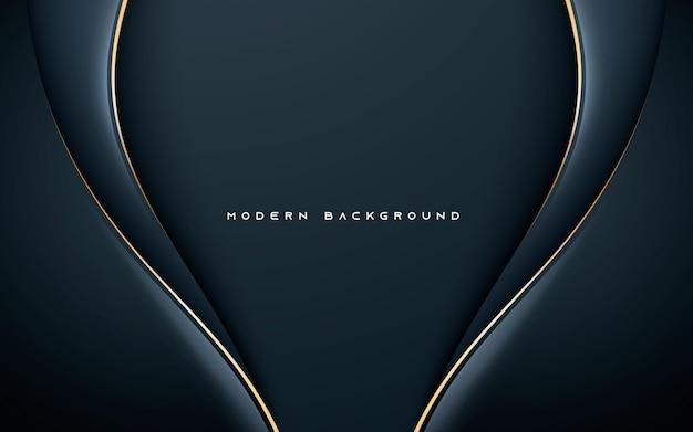 Dimensão ondulada abstrata de fundo preto com linha dourada