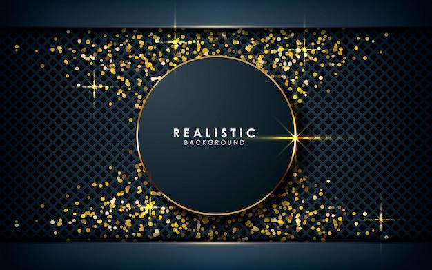 Dimensão realista do círculo com brilhos dourados