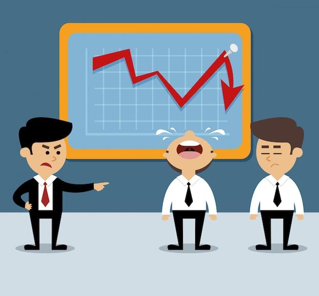 Diminuição do gráfico de negócios