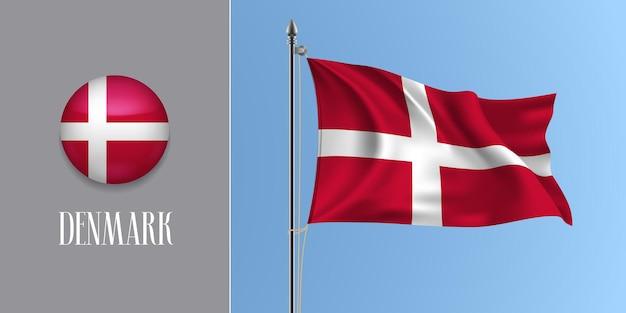 Dinamarca acenando uma bandeira no mastro da bandeira e ilustração vetorial ícone redondo. maquete 3d realista com desenho da bandeira dinamarquesa e botão circular