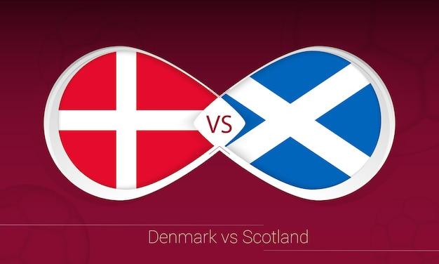 Dinamarca vs escócia em competição de futebol, ícone do grupo f. versus no fundo do futebol. ilustração vetorial.