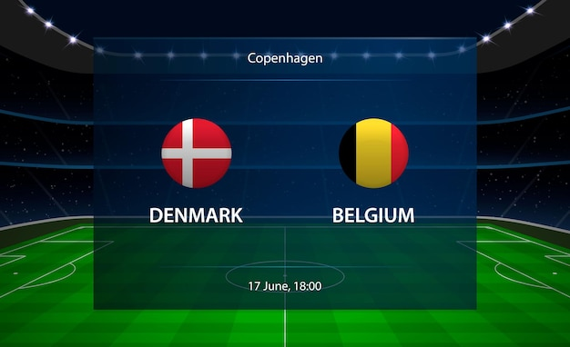 Dinamarca vs placar de futebol da bélgica. Vetor Premium