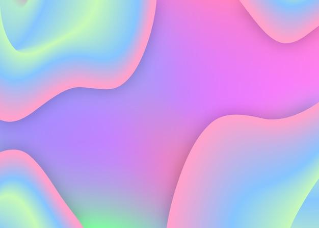 Dinâmica fluida. pano de fundo 3d holográfico com mistura na moda moderna. apresentação cósmica, modelo de cartão. malha de gradiente vívida. fundo dinâmico fluido com formas e elementos líquidos.
