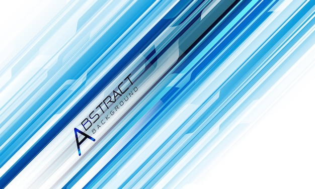 Dinâmica geométrica cibernética de linha azul abstrata em fundo de tecnologia futurista moderna de design branco
