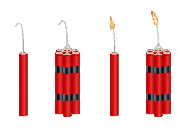 Dinamite 3d real e pacote de dinamite com fogo ardente