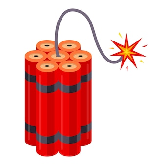 Dinamite com pavio em chamas. implodindo funciona. ilustração vetorial plana