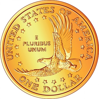 Dinheiro americano, moeda de dólar de ouro com a imagem de um flyi