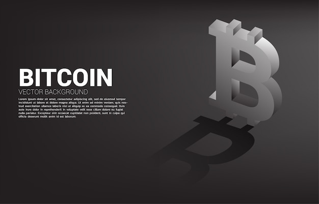 Dinheiro bitcoin moeda ícone 3d com sombra.