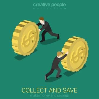 Dinheiro coletar e economizar plano 3d web conceito infográfico isométrico