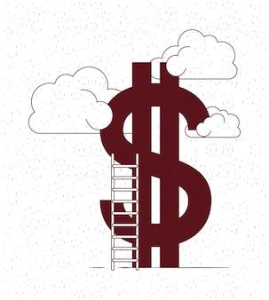 Dinheiro com nuvens e escadas