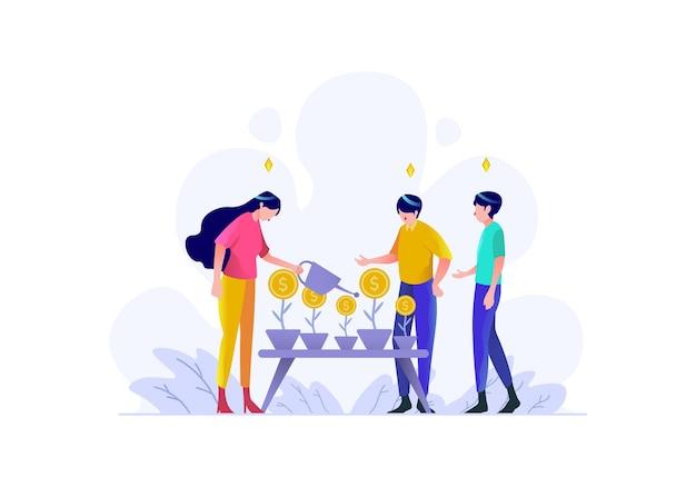 Dinheiro crescer estratégia planta trabalho em equipe marca pessoas personagem estilo design plano ilustração vetorial