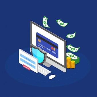 Dinheiro da internet, conceito de segurança de pagamento. fintech (tecnologia financeira) de fundo.